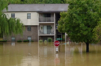 Flooded apartment  buildings