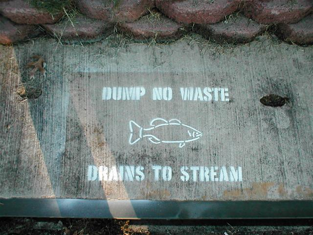 Dump No Waste Drains to Stream Sign