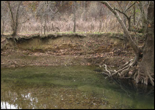 Prior to construction: Steep and eroding banks at Glade Creek