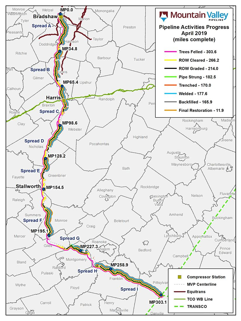 Mountain Valley Pipeline June 2019 Map Progress