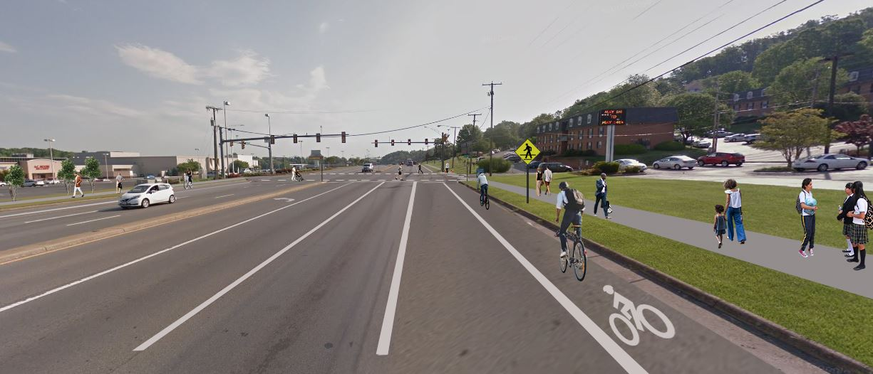 Electric Road Project Rendering with 3rd Lane/Bike Lanes/Sidewalks