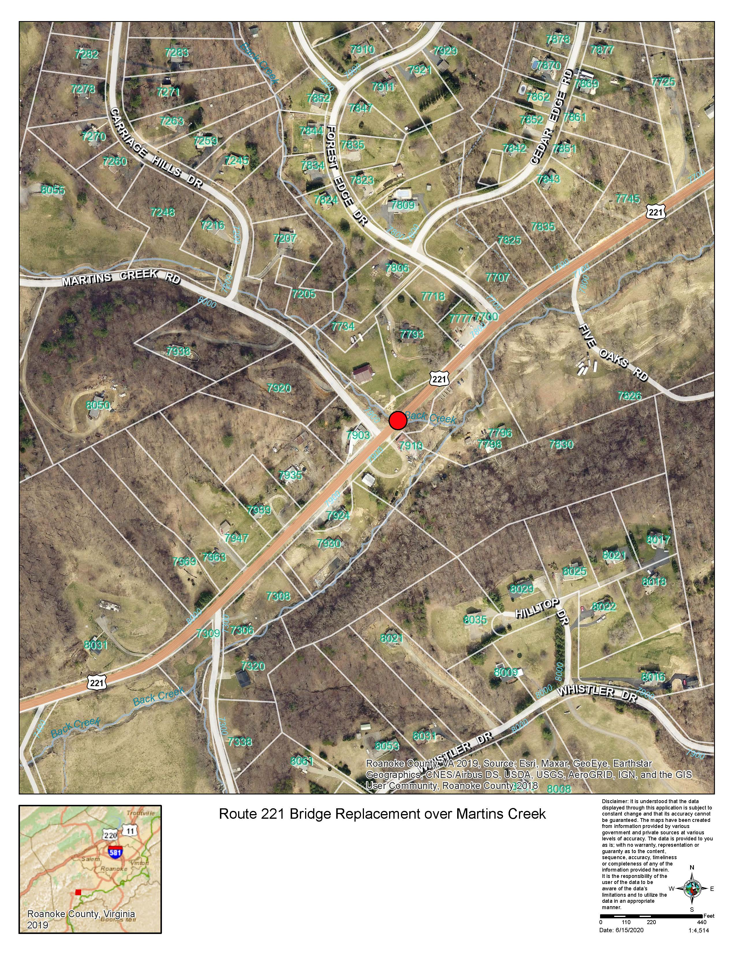 Rt 221 Bridge Replacement at Martins Creek Map