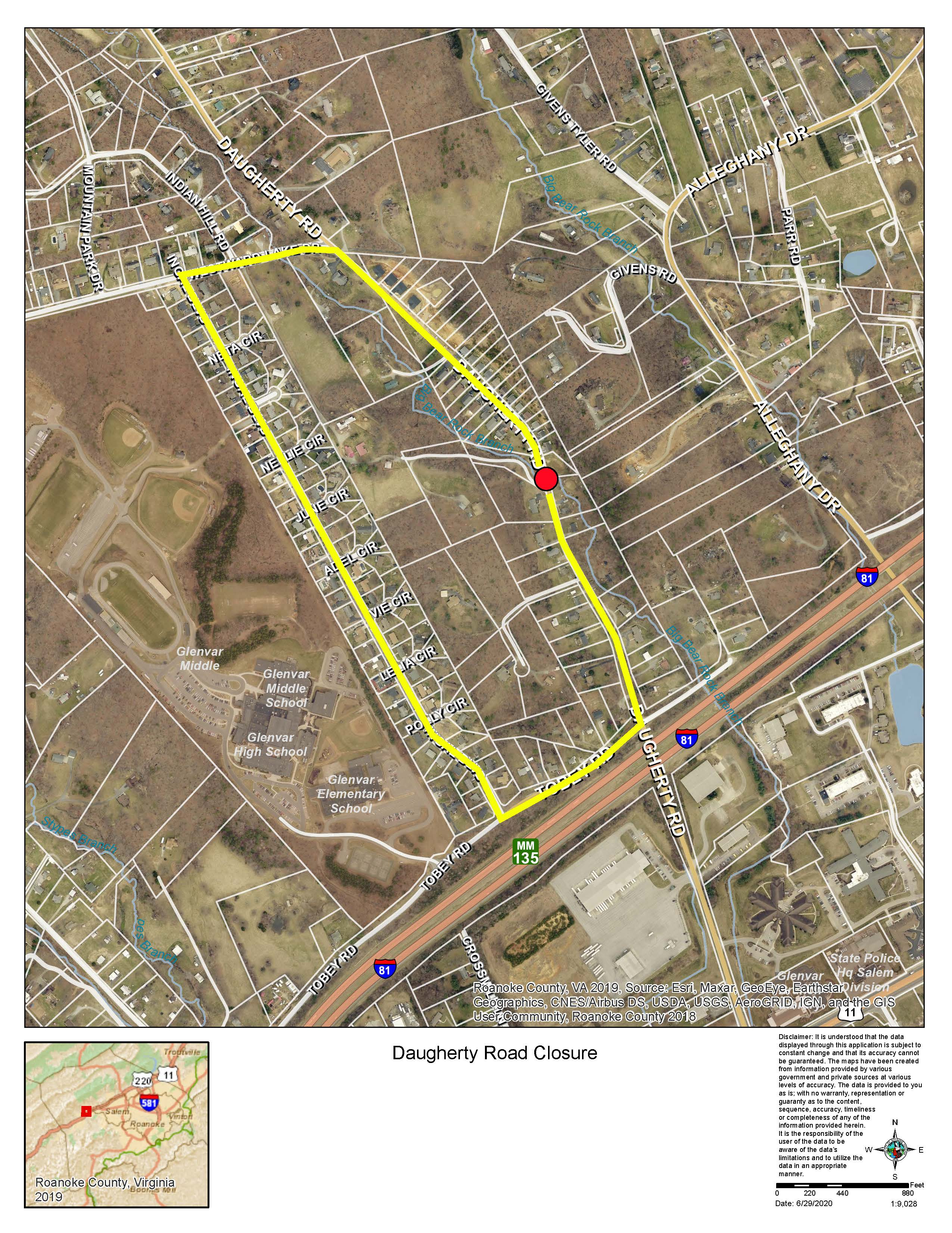 Daugherty Road Closure Map