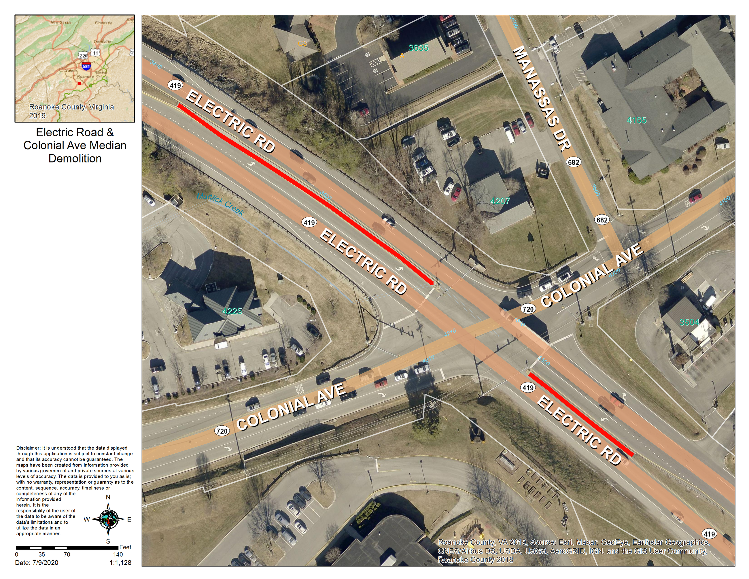 Electric Road and Colonial Avenue Project Map